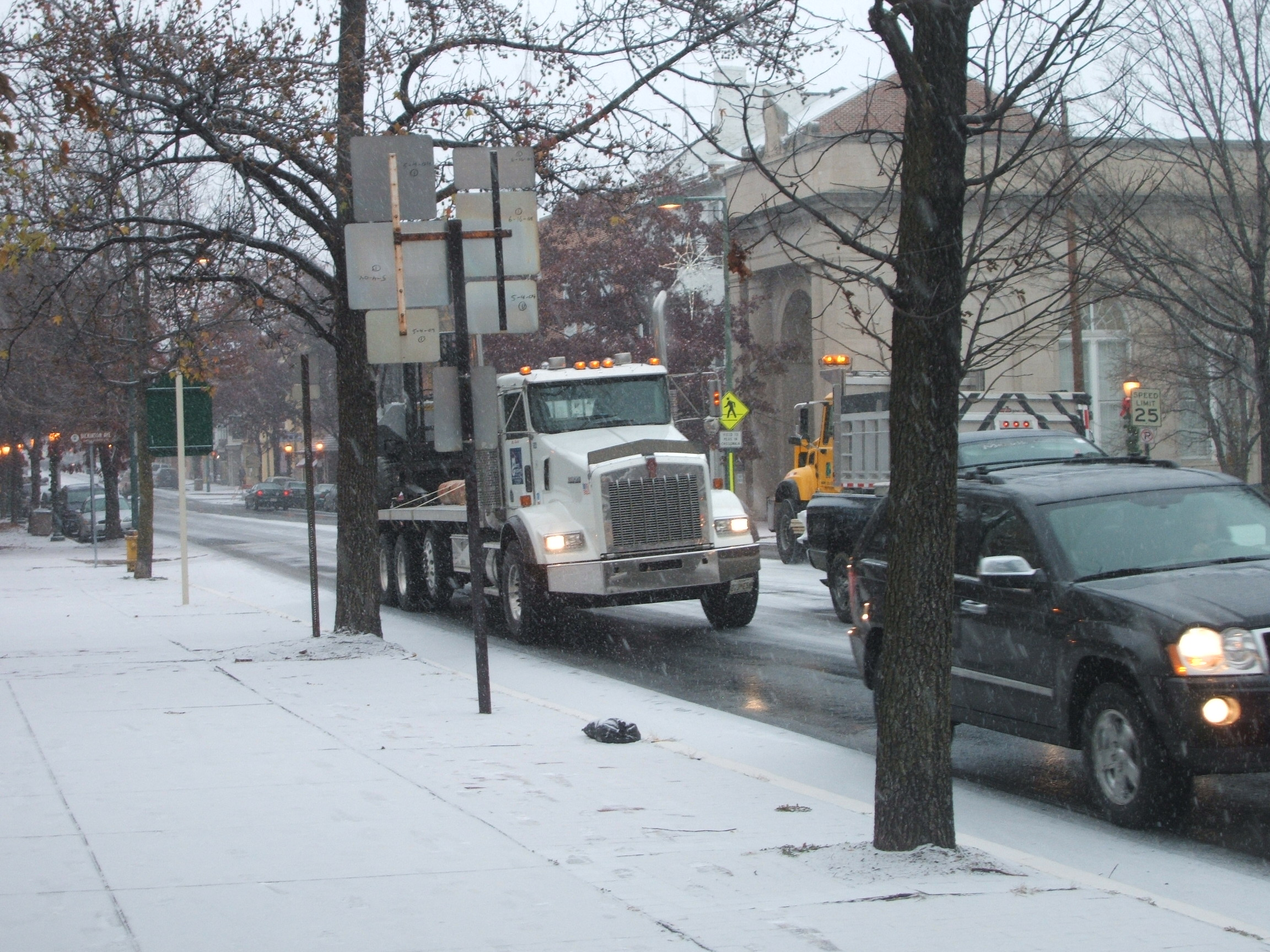 Trucks on Hanover Street, Carlisle, PA. December 5th, 2007. Photograph by Ellen Simon.