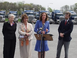 From left, Sen. Pat Vance (R) Cumberland County; Rev. Jennifer McKennaPresident, Clean Air Board of Central Pennsylvania, DEP Secretary Kathleen McGinty, and ; Kevin Stewart, Pa. Chapter, American Lung Association.courtesy of http://www.depweb.state.pa.us/news/lib/news/air_monitor_large.jpg